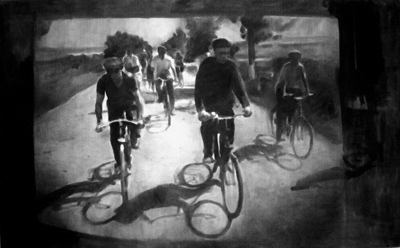 [photo of Olexander's drawing Bicyclists]