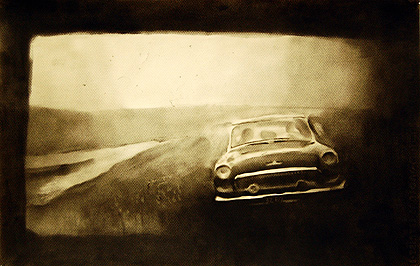 [photo of Olexander Wlasenko's drawing Untitled (car by river) ]